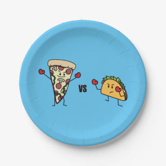 Pepperoni Pizza VS Taco: Mexican versus Italian Paper Plate
