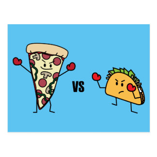 Pepperoni Pizza VS Taco: Mexican versus Italian Postcard