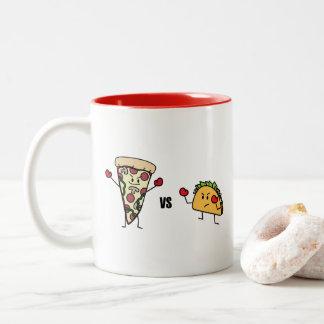 Pepperoni Pizza VS Taco: Mexican versus Italian Two-Tone Coffee Mug