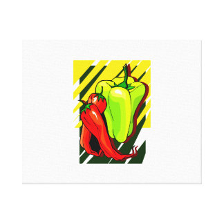 Peppers chili and yellow on yellow bg canvas prints