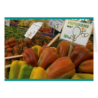 Peppers in the Rialto Market, Venice, Italy. Card