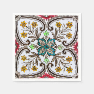 Peranakan Floral Tiles Disposable Serviettes