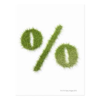 Percentage symbol made of grass postcard