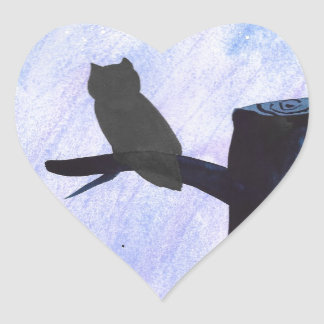 Perched Owl Heart Sticker