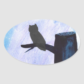 Perched Owl Oval Sticker