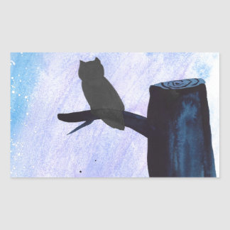 Perched Owl Rectangular Sticker