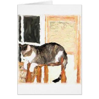 Perching Cat Digital Photograph Greeting Card