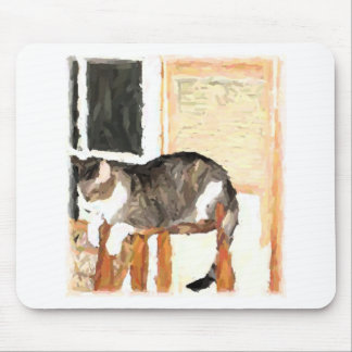 Perching Cat Digital Photograph Mouse Pad