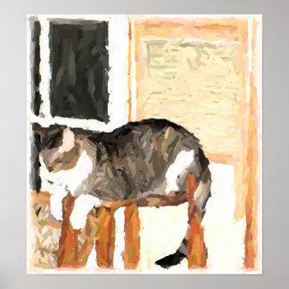 Perching Cat Digital Photograph Poster