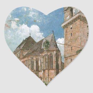 Perchtoldsdorf by Rudolf von Alt Heart Sticker