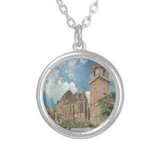 Perchtoldsdorf by Rudolf von Alt Round Pendant Necklace
