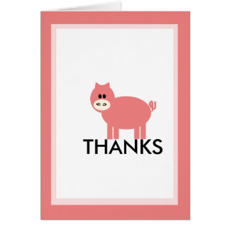 Percy the Pink Pig THANKS pink greetings card