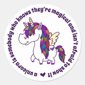 Percy the Polished Unicorn Classic Round Sticker