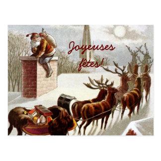 Père Noël avec traîneau et renne cartes postales Postcard