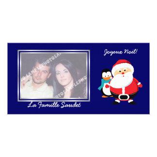 Père Noël et Manchot  Santa Claus cartes photo Card