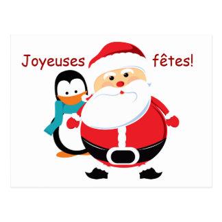 Père Noël et Manchot Santa Claus cartes postales Postcard