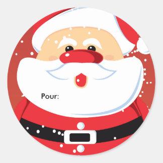 Père Noël Etiquettes cadeaux Autocollants ronds Classic Round Sticker