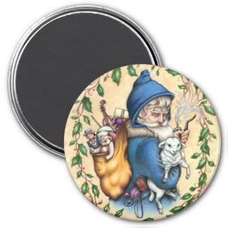 Pere Noel FATHER CHRISTMAS MAGNET Round
