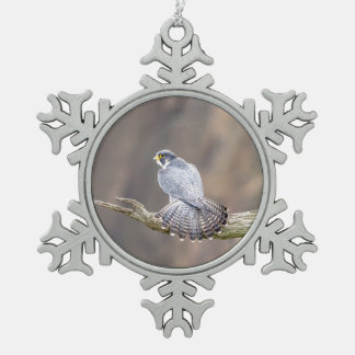 Peregrine Falcon at the Palisades Interstate Park Snowflake Pewter Christmas Ornament