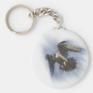 Peregrine Falcon in Flight Basic Round Button Key Ring