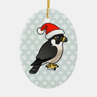 Peregrine Falcon Santa Ceramic Ornament