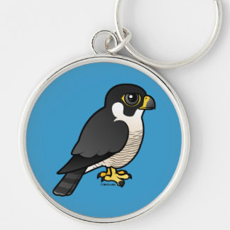 Peregrine Falcon Silver-Colored Round Key Ring