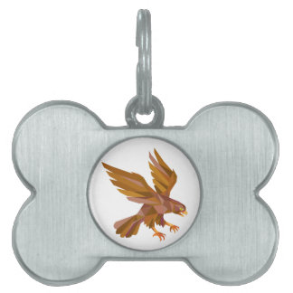 Peregrine Falcon Swooping Low Polygon Pet ID Tag