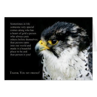Peregrine Falcon Thank You Friend Greeting Card