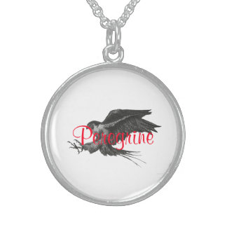 Peregrine pen and ink Silvery Round Necklace. Sterling Silver Necklace