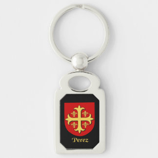 Perez Historical Shield Silver-Colored Rectangle Key Ring