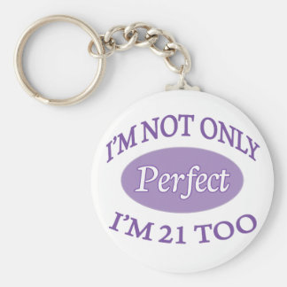 Perfect 21 Year Old Basic Round Button Key Ring