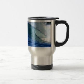 Perfect blue ocean surfing wave travel mug
