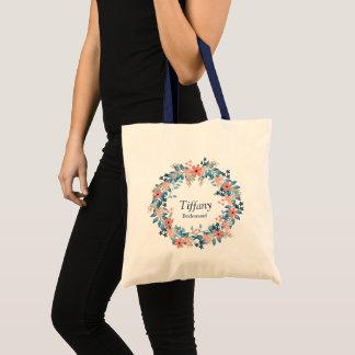 Perfect Bridesmaid Floral Wreath Natural and Navy Tote Bag