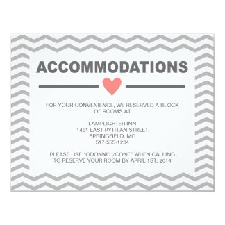 Perfect Chevron Coral and Grey Accommodations Card 11 Cm X 14 Cm Invitation Card