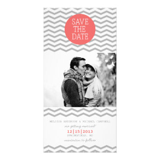 Perfect Chevron Coral & Gray Save The Date Photo Customised Photo Card