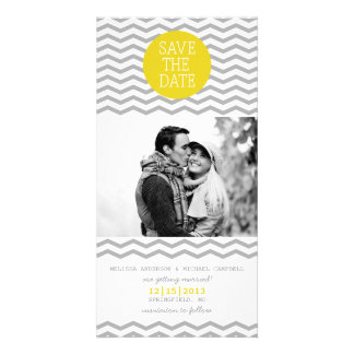 Perfect Chevron Yellow & Grey Save The Date Photo Photo Greeting Card