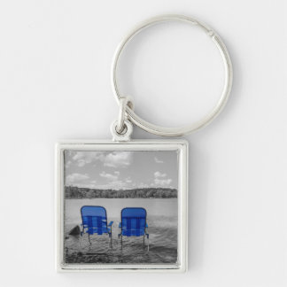 Perfect Day At The Lake Grayscale Key Ring