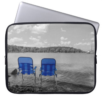 Perfect Day At The Lake Grayscale Laptop Sleeve