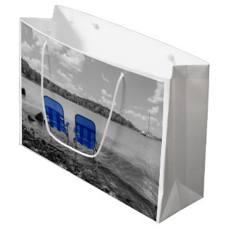 Perfect Day At The Lake Grayscale Large Gift Bag