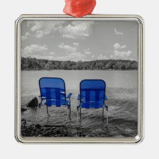 Perfect Day At The Lake Grayscale Metal Ornament
