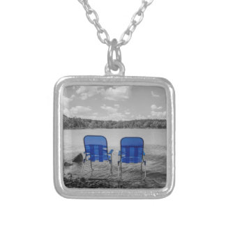 Perfect Day At The Lake Grayscale Silver Plated Necklace