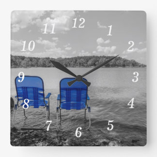 Perfect Day At The Lake Grayscale Square Wall Clock