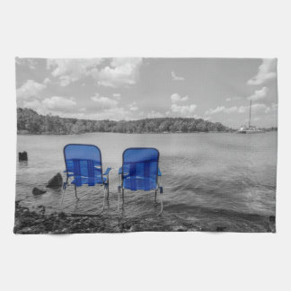 Perfect Day At The Lake Grayscale Tea Towel