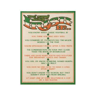 Perfect Irish Gift! Funny Poster of Irish Traits!