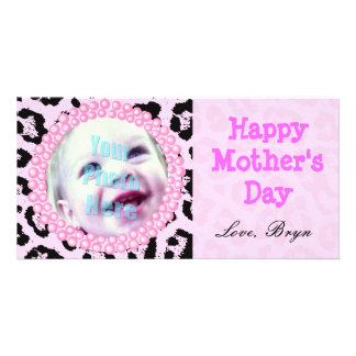 Perfect Mother's Day Gift Pink Cheetah Frame - Personalized Photo Card