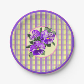 Perfect Pansy Plaid Paper Plate