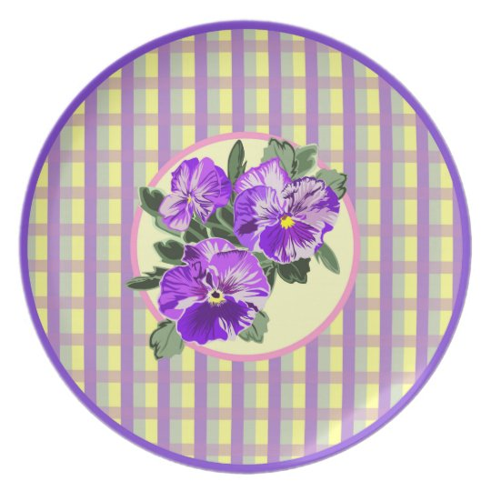 Perfect Pansy Plaid Plate