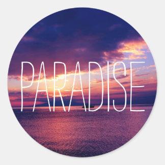 Perfect Paradise Sunset Classic Round Sticker