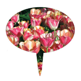 Perfect Pink and Peach Tulips Cake Topper