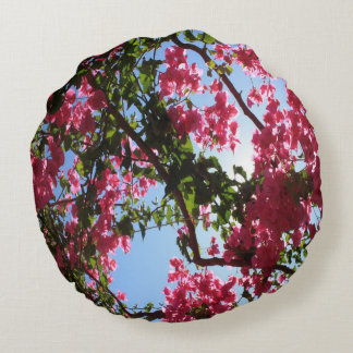 Perfect Pink Bougainvillea In Blossom Round Cushion